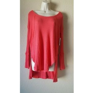 FREE PEOPLE LONG SLEEVE THERMAL High LOW Top XS